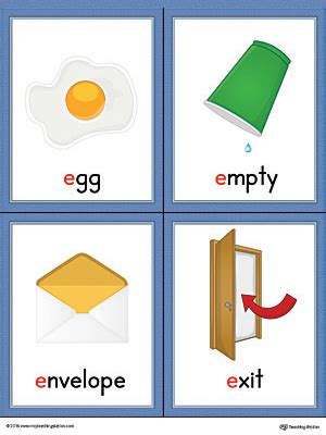 color starts with e letter e words and pictures printable cards egg empty