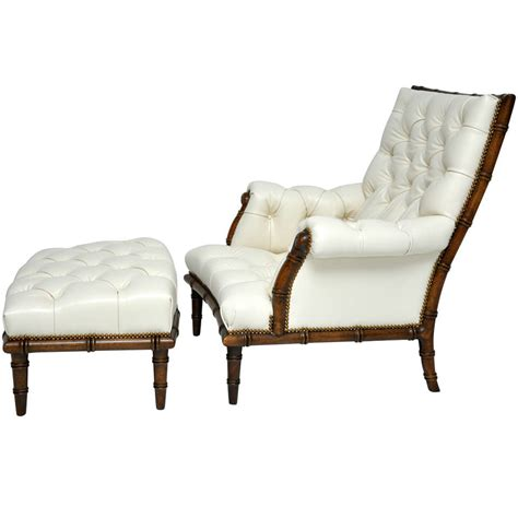 faux bamboo leather lounge chair at 1stdibs
