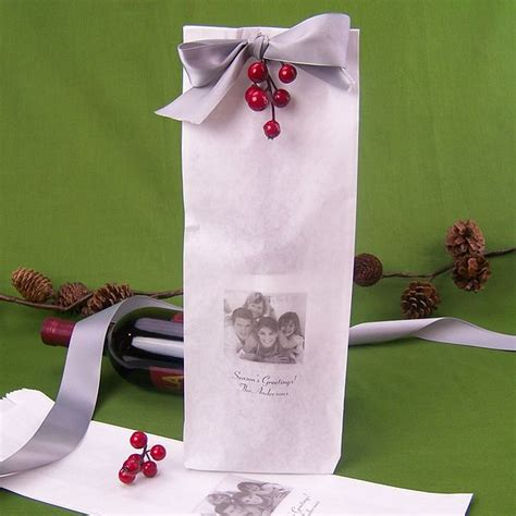 custom printed photo wine bottle wedding gift bags