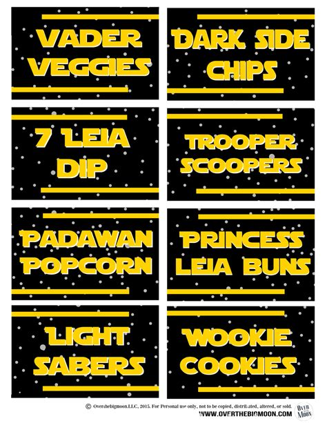 label cuisine may the 4th be with you wars food free printables