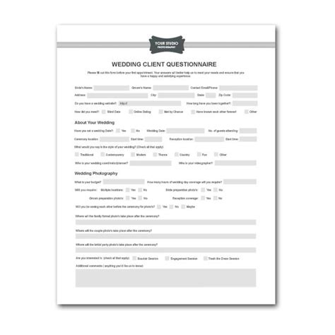 wedding planner questionnaire template printable planner