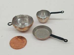 miniature dollhouse mini copper metal baking cooking pans bakeware  germany ebay