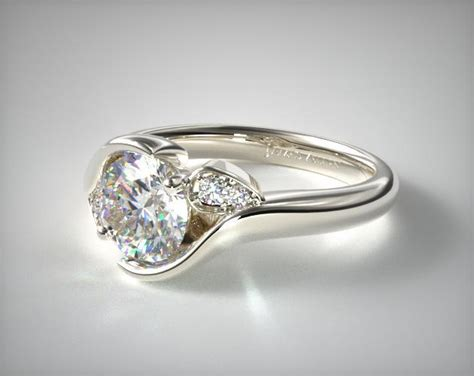Style Modern Setting by Modern Leaf Bypass Engagement Ring 14k White Gold 17181w14