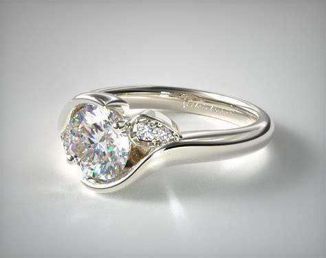 modern leaf bypass engagement ring 14k white gold 17181w14