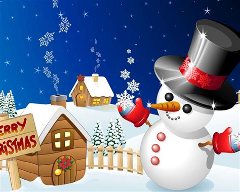 Merry Christmas Winter Snow Wood Houses With Snowman Desktop Hd Wallpaper For Mobile Phones