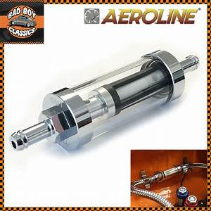 Universal Chrome  U0026 Glass Fuel Petrol Diesel Inline Filter