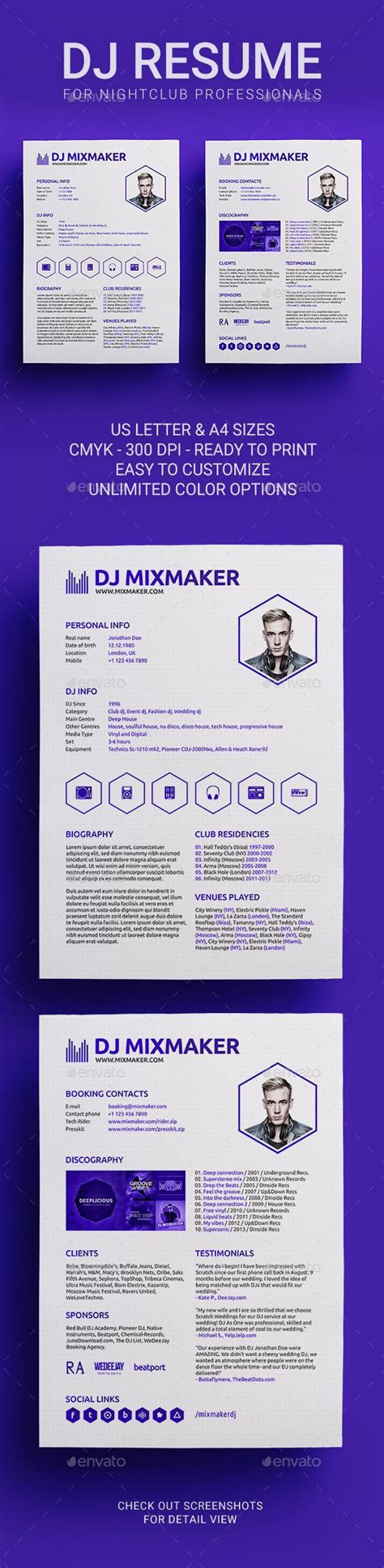 Dj Resume by 1000 Images About Dj Press Kit And Dj Resume Templates On
