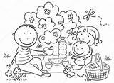 Picnic Cartoon Having Outdoors Famiglia Che Aperto Familie Ha Picknick Clipart Illustrazione Familj Picknicken Utomhus Har Som Draussen Park Openlucht sketch template