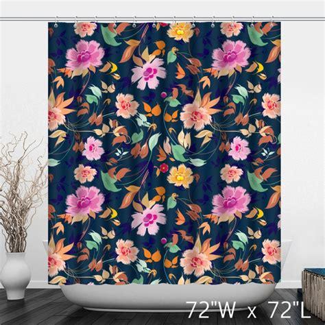 shower curtain flowers painted flower floral shower curtain custom shower