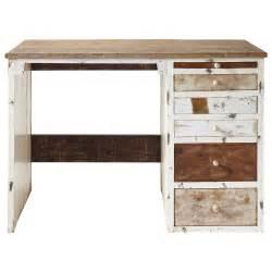 schreibtisch design holz bureau en bois recyclé l 112 cm arcachon maisons du monde