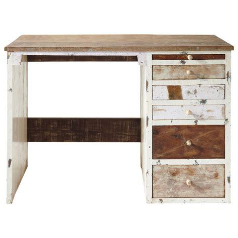 bureau en bois recycl 233 l 112 cm arcachon maisons du monde