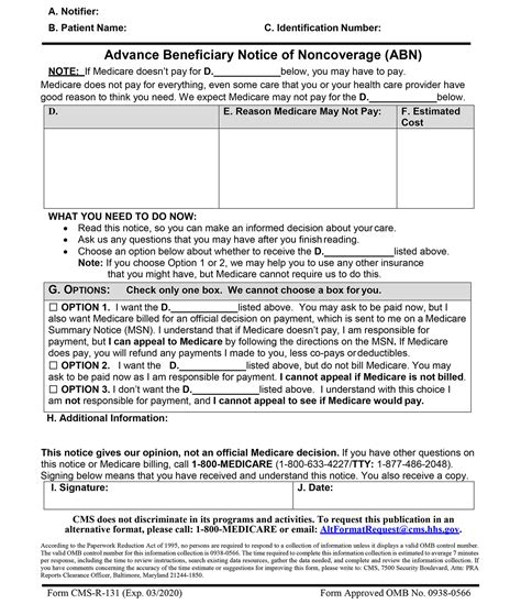 abn form pdf advance beneficiary notice of noncoverage interactive