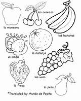 Fruits Vegetables Printables Frutas Las Languages Multilingual Spanish sketch template