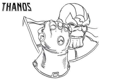 thanos with infinity gauntlet coloring page free