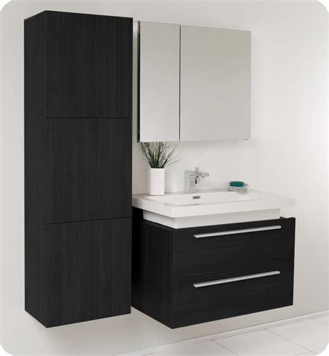 Contemporary Bathroom Cabinet by Fresca Medio Black Modern Bathroom Vanity W Medicine