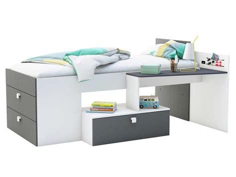 delamaison bureau lit combiné couchage mono avec bureau et 3 tiroirs lit