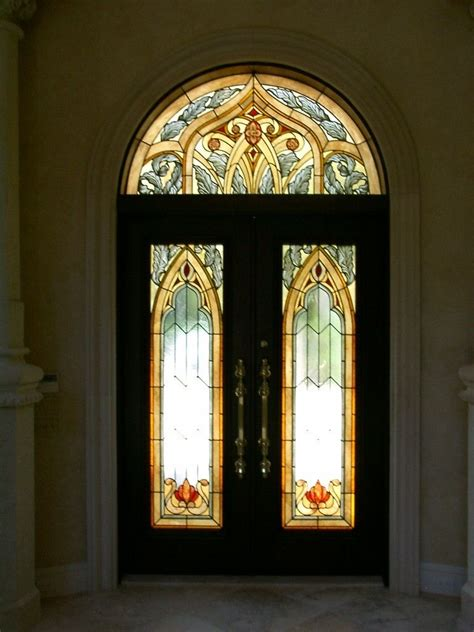handmade stained glass entry doors  transom