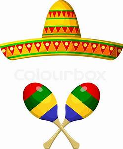 National Mexican sombrero and maracas on a white ...