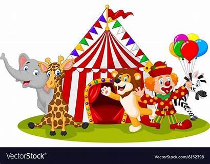 Circus Cartoon Clown Animal Happy Vector Animals