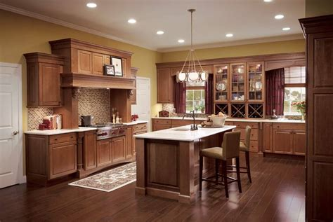 color hardwood floor  cherry cabinets
