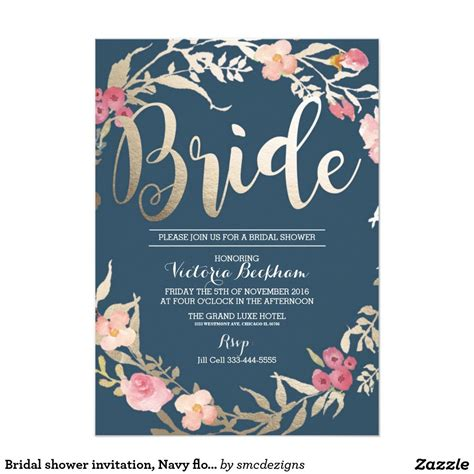 bridal shower invitation navy floral foil bride