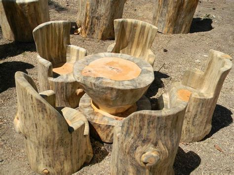 log table and chairs chainsaw woodworking carving rustic tree stump