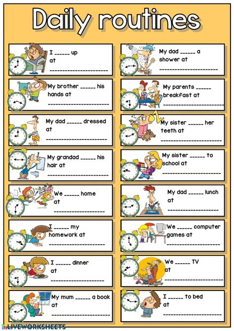 daily routines telling  time interactive worksheet