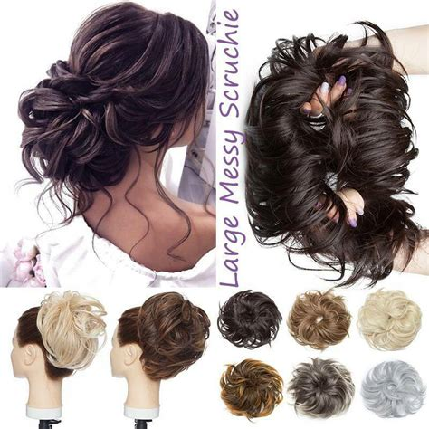 """The classic """"half up, half down"""" look is the one everybody can relate to, regardless of the length of your locks or their thickness. 80G Big Thick Messy Bun Hair Scrunchie Curly Hair ..."""