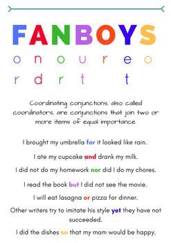 fanboys grammar poster  melissa buell teachers pay