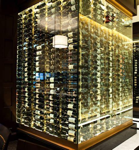 modern style wine cellar metal wine racking installation