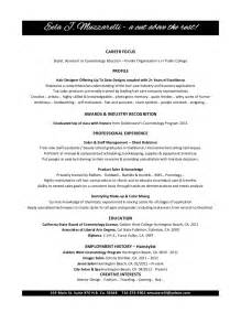 resume format for cosmetologist cosmetology resume objectives resume sle recentresumes