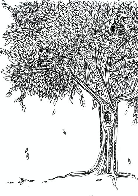 coloring pages owls tree coloring page designs canvas tree coloring pages  adults christmas