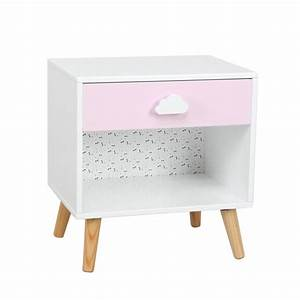Table De Chevet Enfant QuotSweetyquot 40cm Blanc Rose