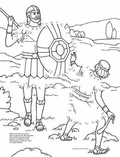 Goliath David Dot Lds Coloring Pages Dots