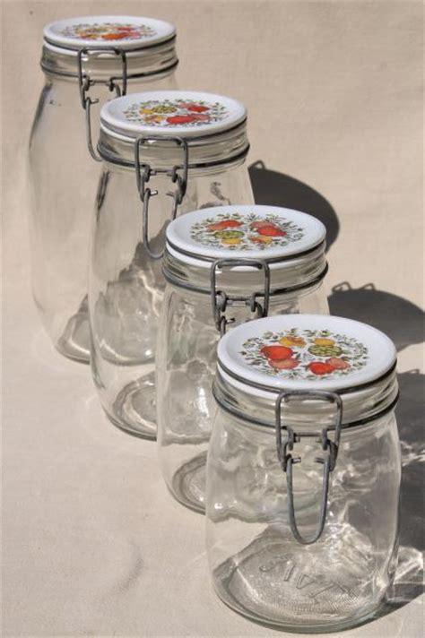 vintage glass canisters kitchen spice of kitchen seasonings vintage glass jars