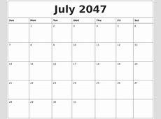 July 2047 Printable Calendar Template