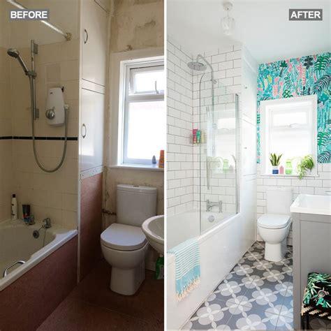 bathroom makeover  palm print wallpaper   simple