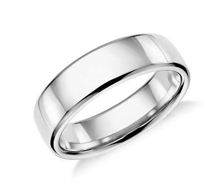 mens engagement ring modern comfort fit wedding ring in platinum 6 5mm blue