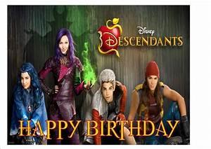 Disney Descendants Rice Paper Birthday Cake Topper! eBay