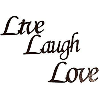Features of the live laugh love wall decor include sturdy mdf construction, a wooden color and a lacquered coating. Amazon.com: Live Laugh Love Words Simple Font Home Decor Metal Wall Art: Home & Kitchen | Live ...
