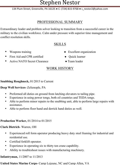 infantryman resume templates for free formtemplate