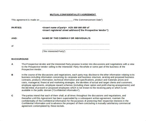 basic confidentiality agreement   word