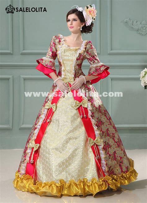 cheap redpurpleblue printed marie antoinette dresses