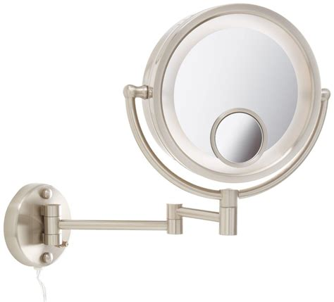 magnifying mirror 15x lighted jerdon hl8515n 8 5 inch lighted wall mount makeup mirror