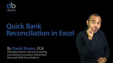 excel tutorial quick bank reconciliation  excel youtube
