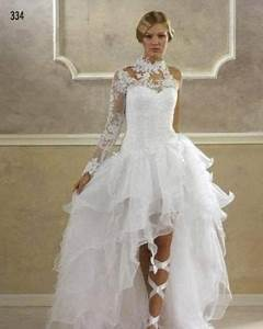 2015 hot sale white ivory long sleeve high low wedding With long sleeve high low wedding dresses