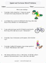 speed word problems printable grade  math worksheet