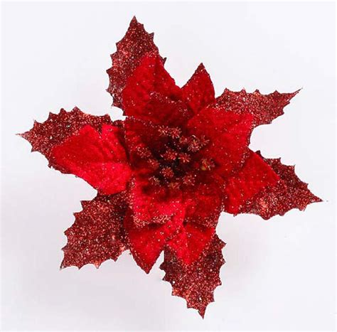 17cm artificial christmas poinsettia flower exquisite floral glitter christmas decorative trees