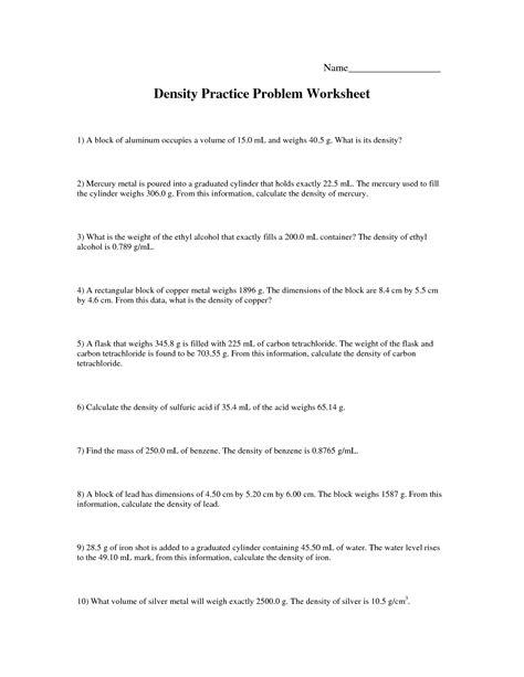 10 best images of density worksheet answers density