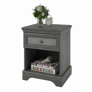Fabric Panel Wood Nightstand in Rodeo Oak - 5664213PCOM